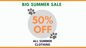 50% OFF ALL SUMMER CLOTHING STARTS NOW!
